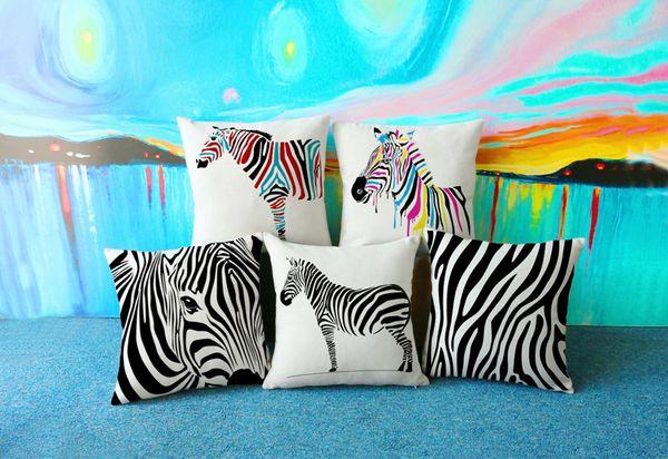 cuscino decorativo zebra per divano o auto cuscino di arredamento per la casa creativo con doppi lati stampa lino cotone federa 17,7 pollici