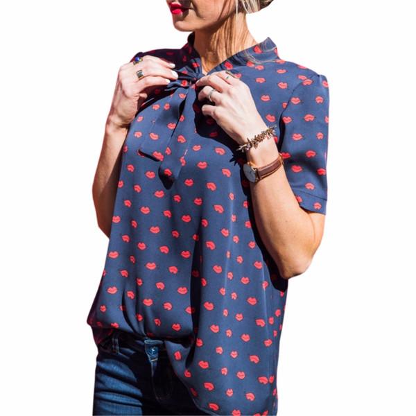 New Red Lip Stampato Camicie di Chiffon Moda Donna Camicette Camicie Plus Size Donna Casual Bowknot Camicie Camisas Femininas GV583