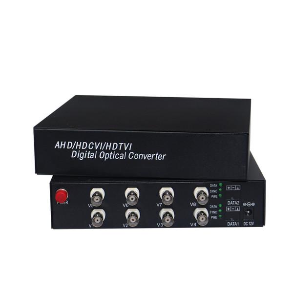 8chs 1080P AHD/CVI/TVI/Analog All in One Video Fiber Optical Transmistter and receiver 1080p 2Mp AHD CVI TVI camera to fiber optic converter