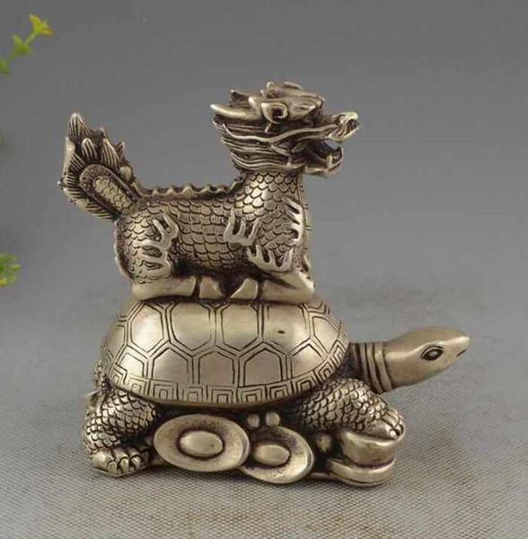 Porcelaine à collectionner Vieux Cultre Tibet Argent Kylin Et Tortue Statue Chanceux