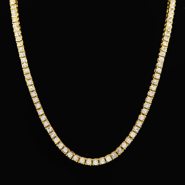 Gold Color 1 Row Simulated Diamonds Lab Rhinestone Iced Out Long Chain Men's Hip Hop Tennis Necklace