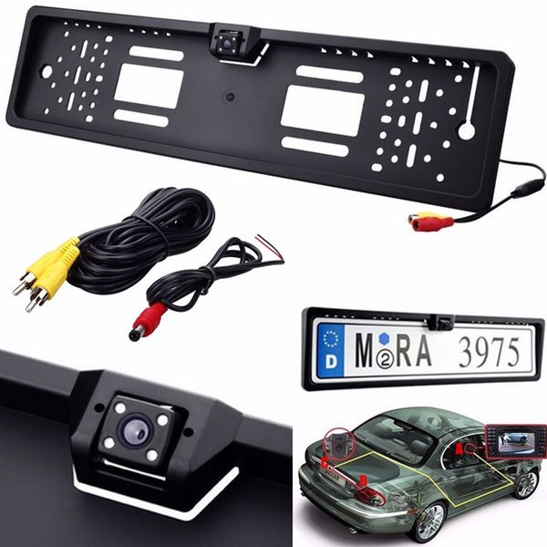 1 set Waterproof High-definition and 170 degree 4 LEDs Europe License Plate Frame with Car Rear View Camera CAL_043