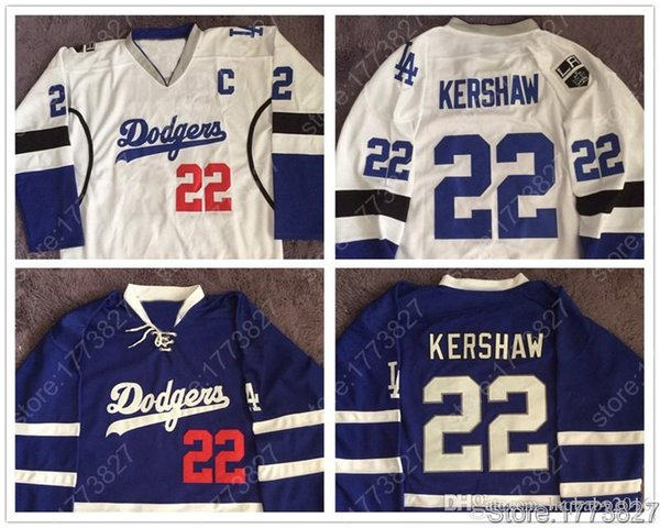 # 22 Jérsei de Clayton Kershaw # 31 Joc Pederson # 32 Jóquei de Jonathan # rápido Brown LA Dodgers LA Jérsei de Hóquei azul de Reis Branco Duplo Costurado