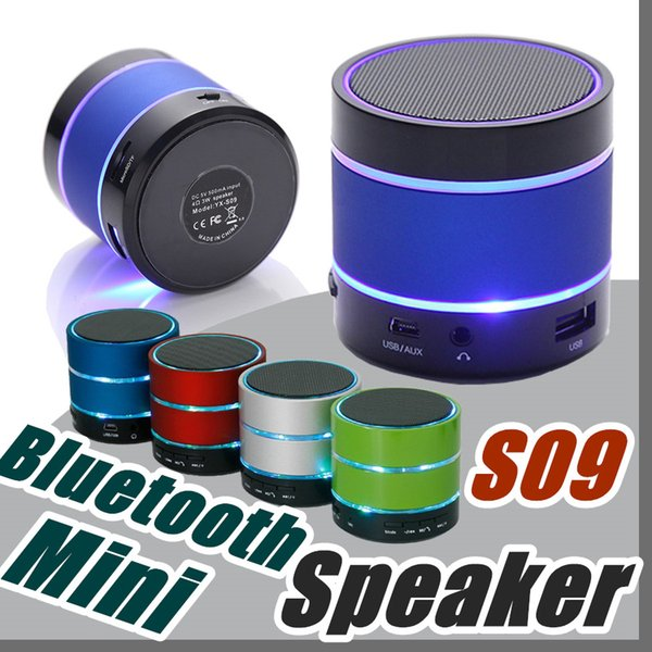 2017 Newest Prodduct LED Speaker S09 Enhanced Speaker 3 LED Light Ring Super Bass Metal Mini Portable Beat Hi-Fi Bluetooth Handfree C-YX