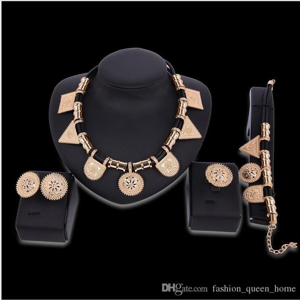 5set Necklace Earrings Bangle Jewelry Set Luxury Women Rhinestone Golden Alloy Circles Party Jewelry 4-Piece Set F10307
