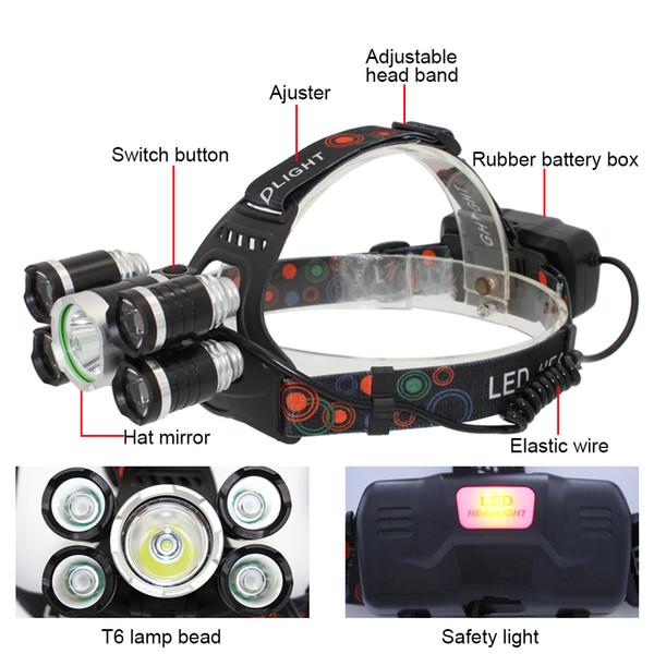 Faro anteriore KC Fire 5 LED 1x T6 + 4x XPE LED USB Torcia ricaricabile per faro per Outdoor Caccia Pesca Bike Light con cavo USB HL0030