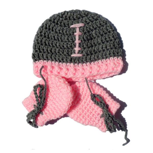 Neugeborenes Fußball Kostüm, handgemachte häkeln Baby Boy Girl Fußball Hut und rosa Fäustlinge Set, Kleinkind Infant Foto Prop, Baby-Dusche-Geschenk