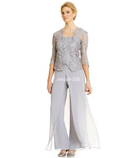 Artı Boyutu Vintage anne Gelin Damat Elbiseler Pantolon Takım Elbise Uzun Kollu Dantel Ceket Anne Elbise Resmi Giyim 2020