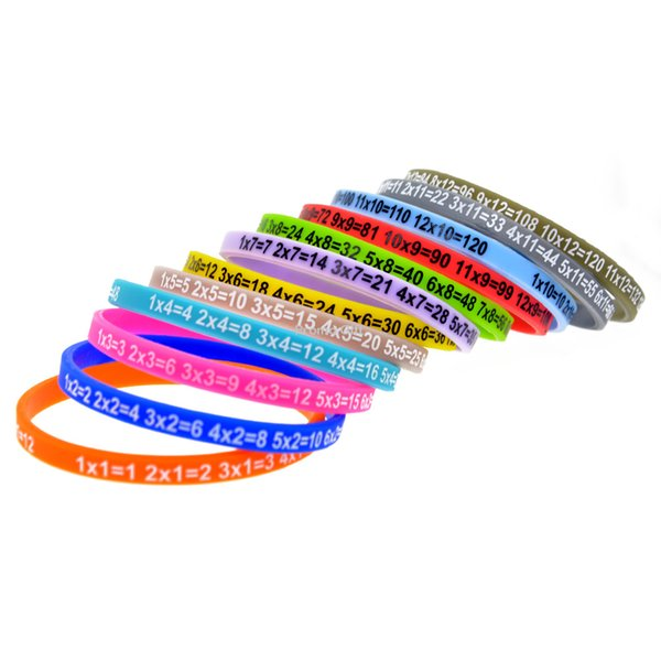 120PCS/Lot Skinny Multiplication Tables Silicone Wristband Bracelet What Better Way To Carry The Message Than With A Daily Reminder!