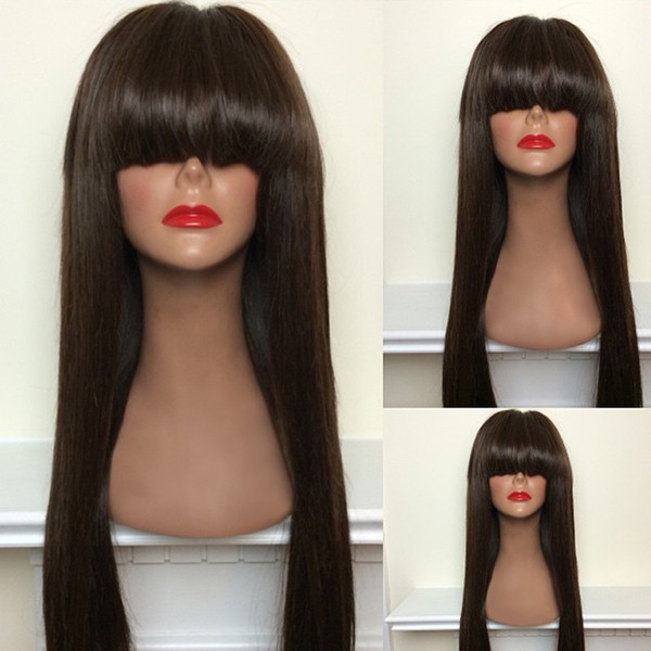 full bangs long human glueless full lace wig for black women brazilian virgin human hair wig front lace with baby hair