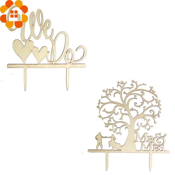 New Arrival!10PC Romantic Wooden Wedding Cake Decor Topper Tree&We Do Toppers For Party Decoration Cake Decor
