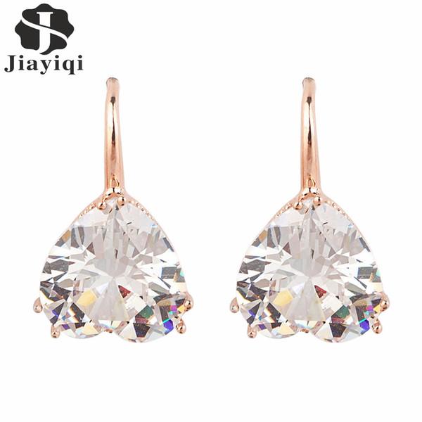 2017 Fashion Vintage Rose Gold Crystal Heart Cubic Zircon Dangle Earrings Summer Style Jewelry Sweet Earrings for Women Girls