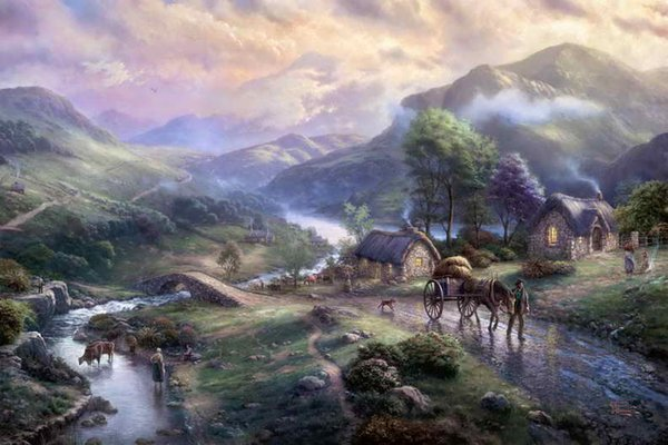 Emerald Valley Thomas Kinkade Oil Paintings Art Wall HD Print On Canvas Decoration Gift No Frame