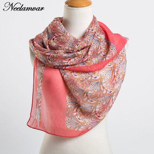 Wholesale-new women fashion small flower print chiffon silk scarf ladies oblong shawl in Spring and Autumn popular hijabs Sunscreen Cape