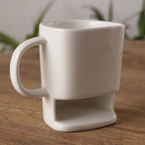 48pcs 200ML Ceramic Mug White Coffee Tea Biscuits Milk Dessert Cup Side Cookie Pockets Holder For Home Office WA2106