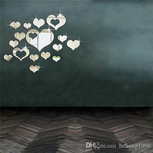 Wall Sticker 3D Acrylic Crystal Heart Shape Mirror Surface Creative Fashion Love Home Decor Sofa Backdrop Removable 10bj F R