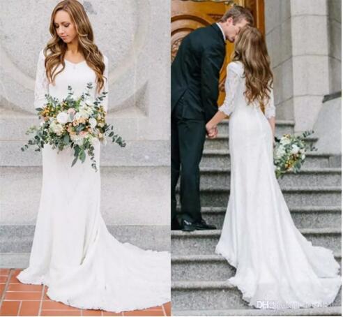 Abiti da sposa d'epoca modesto con maniche lunghe abito da sposa in chiffon di pizzo Bohemian abito da sposa BA4690