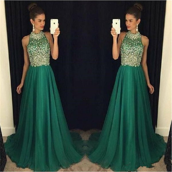 Luxury Emerald Green Prom Dresses Long Crystal Beaded 2017 High Neck ...