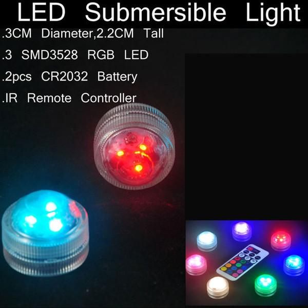 Mini Su geçirmez LED ışıkları uzaktan kumanda ile cam bongs için petrol kuleleri nargile ve nargile su borusu ve balık tankı çiçek vazo lambaları