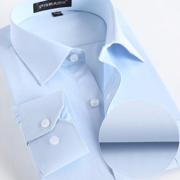 Gros- Hommes Chemises Social 2017 Marque Printemps Formelle Non-Fer Robe Chemise Solide À Manches Longues D'affaires De Mode Hommes Chemises Avec Bouton X020
