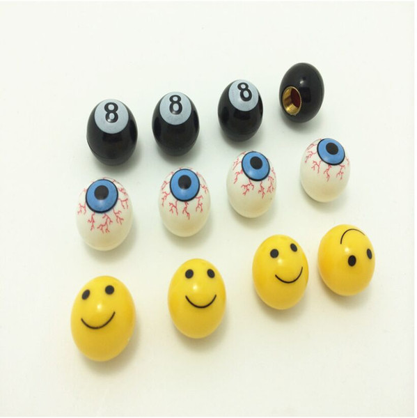 Universal Tire Air Valve Cap Tyres Wheel Dust Stems Smile face Black 8 Bloody Eyes caps Bolt in Type Ventil for Auto Car Truck Motorcycle