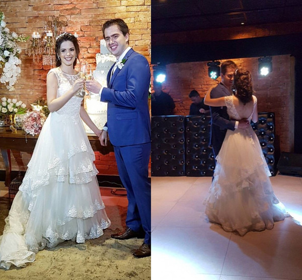 Tiers Skirt Fashionable Bridal Wedding Gowns A-Line Illusion Scoop Vintage Lace Wedding Dresses Backless Bride Dresses robe de mariee