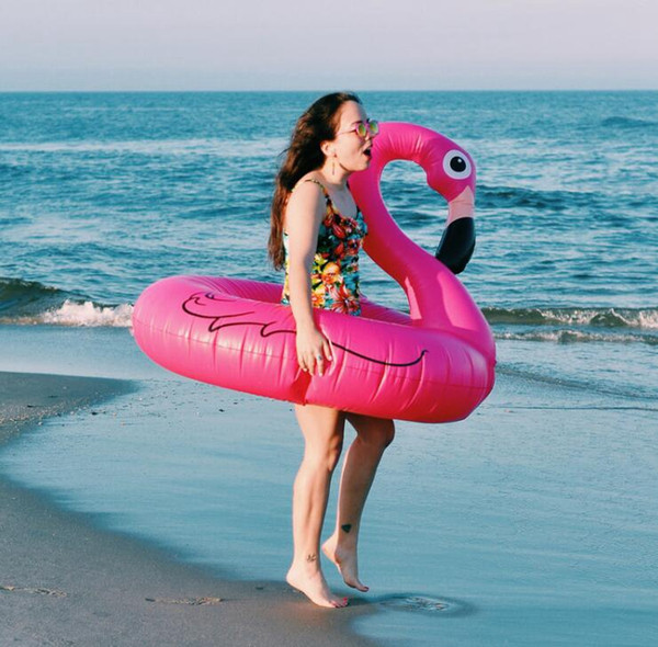 best selling 120CM 60 Inch Giant Inflatable Flamingo Pool Toy Float Inflatable Rose Pink Cute Ride-On donuts Pool Swim Ring Floats 3 design KKA2066