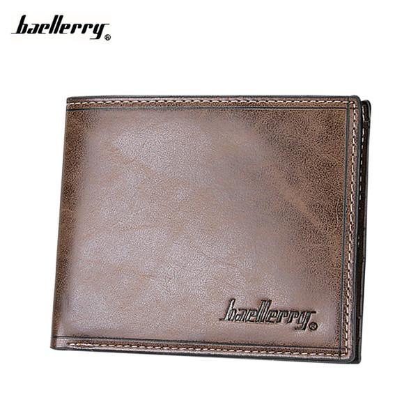 Wholesale- Wallet Men  Holder Money Design For Male Famous Brand Fashion Purse PU Pocket Mini Short small Maschio Portafoglio