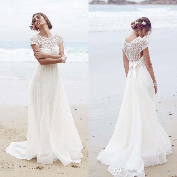 Summer 2017 Beach Wedding Dresses A-line Jewel Neck Short Sleeves ...
