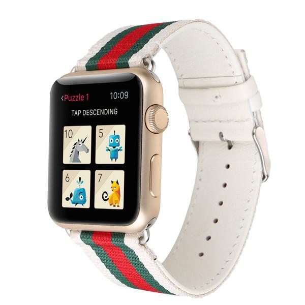Bandas de reloj de cuero de nylon para Apple Watch Band 42 mm 38 mm iwatch 1 2 3 bandas Correa de cuero Pulsera deportiva Nuevas rayas de moda
