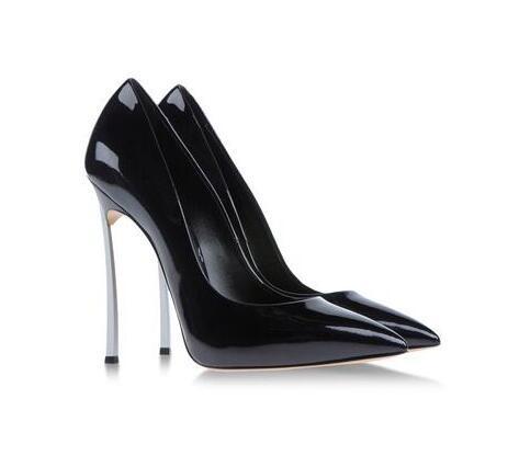 Artı Boyutu 43 Tasarımcı Ayakkabı Bayanlar Pompaları Patent Deri Blade Stiletto Yüksek Topuklu Ofis Parti Düğün Ayakkabı Üzerinde Kayma Altın Gümüş