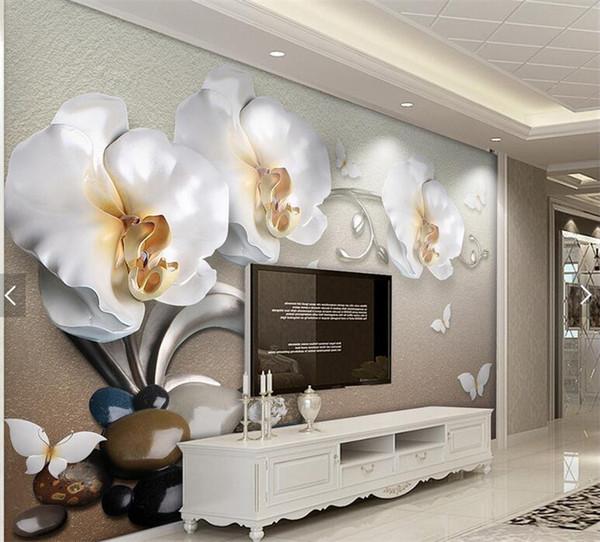 Acquista Farfalla Orchidea Floreale 3d Carta Da Parati Soggiorno Carta Da  Parati Phalaenopsis Fiore Foto Carta Da Parati Murales A $21.36 Dal ...