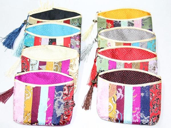 Patchwork Zipper Coin Purse Silk brocade Jewelry Cosmetic Travel Bag Women Small Makeup Bag Tassel Bracelet Gift Bag Pouch 50pcs/llot