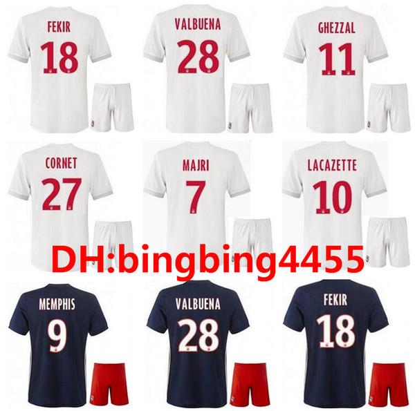 b4e1a08b 2017 2018 Olympique Lyonnais jersey kits 17 18 Lyon Lacazette Fekir DEPAY  home away football uniforms