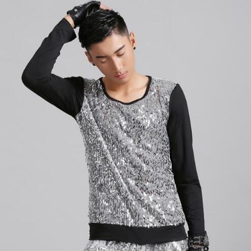 Hot sell ! Splice fashion punk slim sexy silver sequins shirt men long sleeve teenage korean T- shirts mens personality stage singer dance