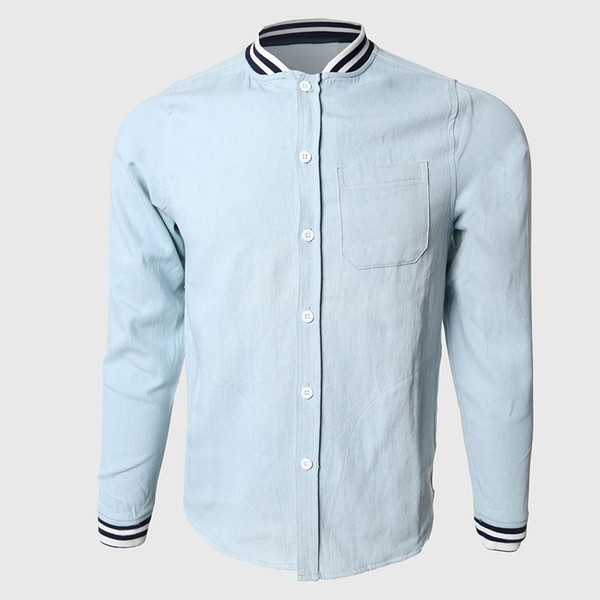 Wholesale- Men Solid Denim Shirts Cool Long Sleeve Shirts Contrast Color Collared Western Cowboy Teens College Stylish Wear