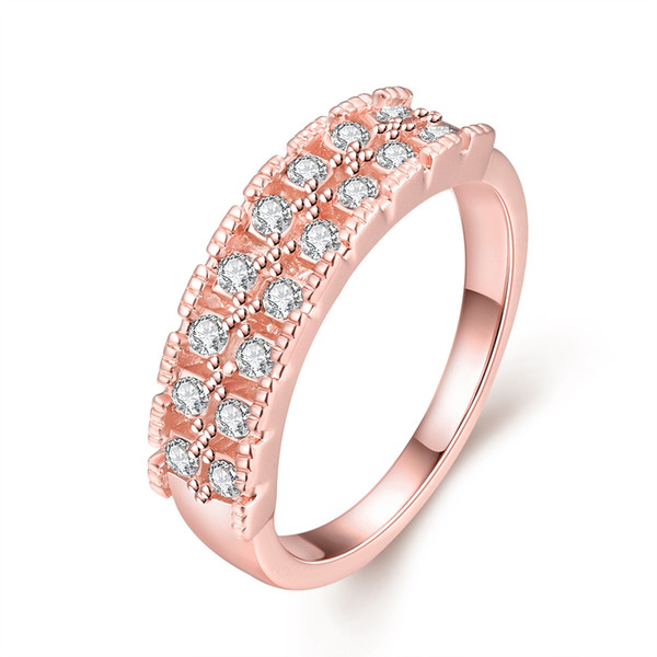 Shining Rose Gold Plated Cubic Zirconia Womens Wedding Band Promise Ring for Women Channel Set