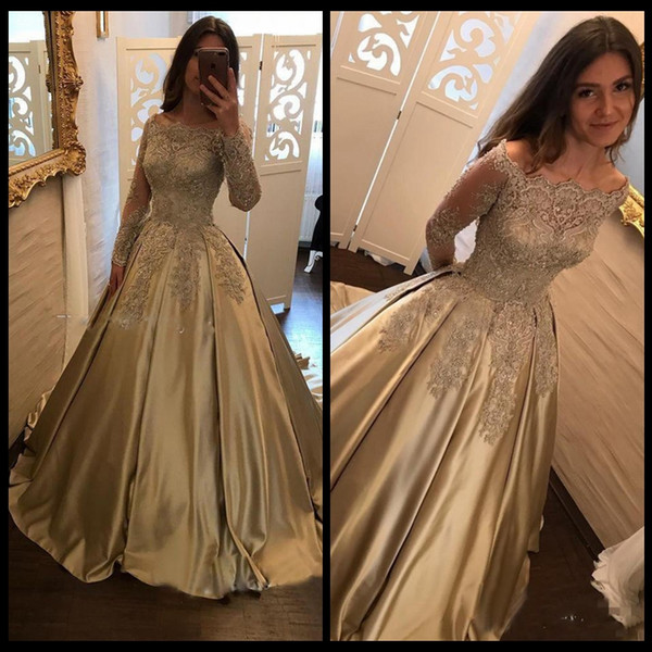 Formal Evening Party Pageant Gowns Long Sleeve Prom Dress Dubai 2k17 Gold Lace Evening Dresses Cheap Vintage