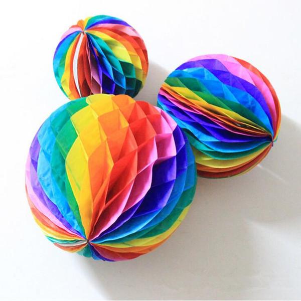 2017 New Rainbow Honeycomb Balls Papier Décoratif Lantern Balls Pour Mariage D'anniversaire Bébé Douche Party Décoration