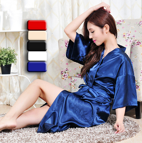 Wholesale-  Long Robe Emulation Silk Soft Home Bathrobe Plus Size S-XXXL Nightgown For Women Kimono Robes Autunm Spring Winter Summer