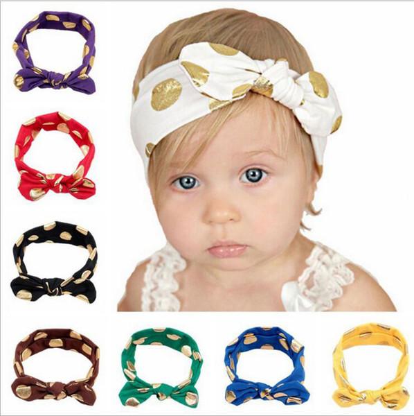 Bebek Bandı Altın Polka Dot Bantlar Bebekler Ilmek Baskılı Saç Bantları Çocuklar Tavşan Kulakları Headwraps Bandanalar Bebek Saç Aksesuarları YYA242