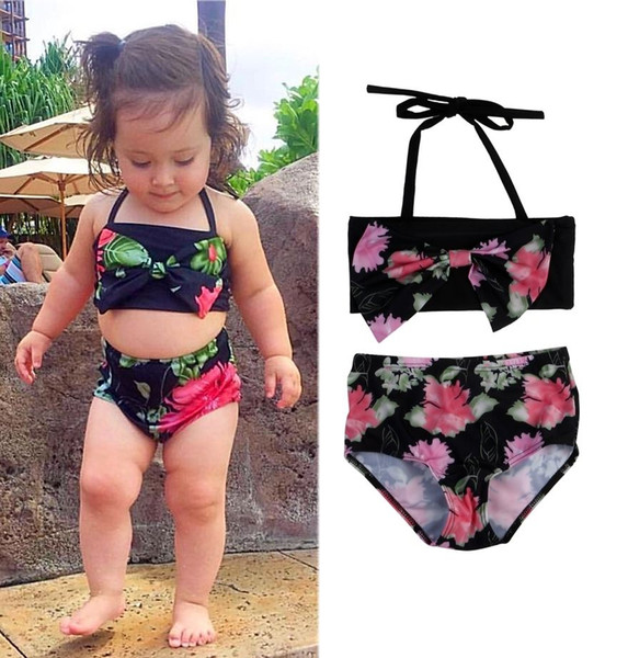 Kids Baby Clothing Girls Bikini Suit Navy Swimsuit Swimwear Bathing Swimming Clothes Summer Sportswear Costume Bathing Black Two-piece