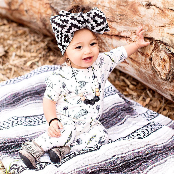 Baby romper Baby Boys Baby Girls long sleeve jumpsuits infant unisex clothing white Feather pattern romper for christmas gift