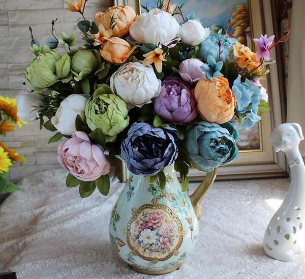 Avrupa tarzı şakayık Paeonia suffruticosa 13 çiçekler büyük çiçek yapay çiçek ipek çiçekler 11 türleri çiçek süslemeleri