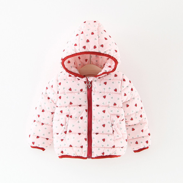 Baby Girls Heart Print Wadding Coats Kids Winter 2017 Clothing for Boutique Little Girls Hoodie Warm Coats