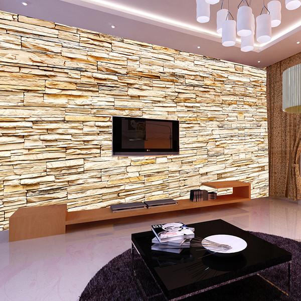 Acheter Mode Non Tissé 3d Briques Pierre Papier Peint Peinture Murale For Living Murs En Arrière Plan Canapé Chambre Accueil Or Fond D écran 3d