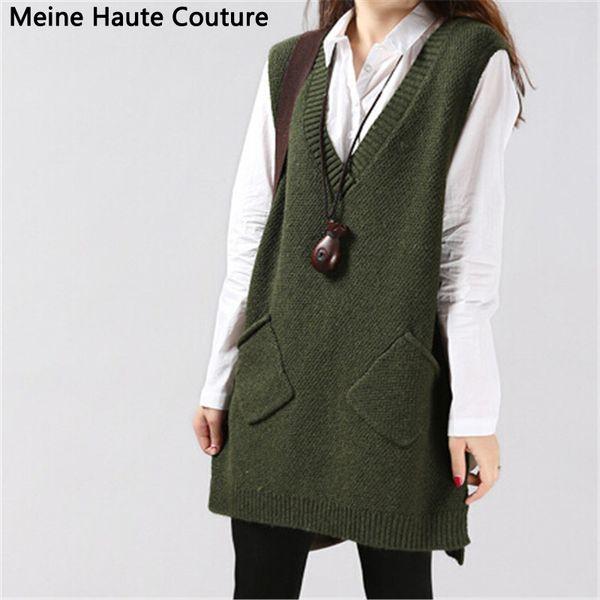 Wholesale- sweater autumn medium-long sleeveless one-piece dress Sweater female V-neck vest knitted