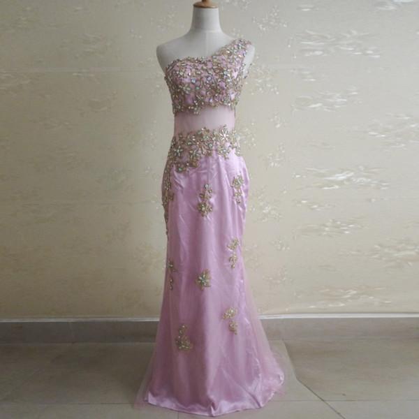 New Popular One Shoulder Pink Long Party Dress Split See Through Gold Applique Beading Evening Dresses Women Formal Long Vestido De Festa
