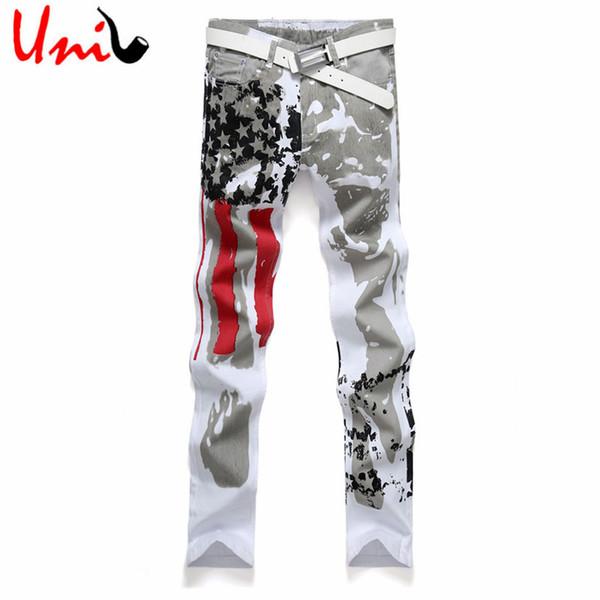 Wholesale-Big Size 28-48 2016 New Arrival European Men Jeans Men's Latest Printed Mid-rise Denim Pants Male Regular Jeans Hombre YN154