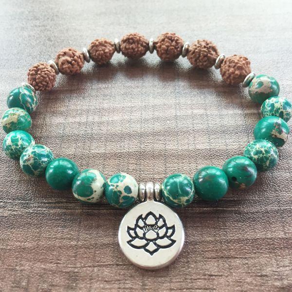 Natural Stone Green Regalite Bracelet Fashion Bracelet For Women Bodie Bracelets Lotus Pendant Lotus Bracelets Mala Beads Yoga Prayer